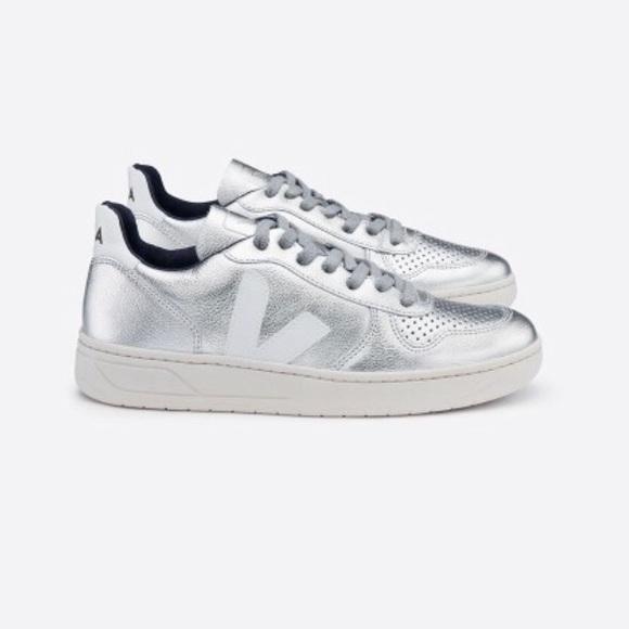 Veja V Silver Metallic Sneakers | Poshmark